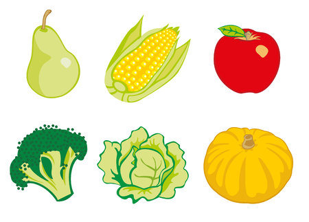health fair: Illustration icons of fruits and vegetables healthy food. Ideal for nutritional materials and food education