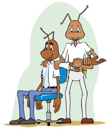 stretching: Illustration of ant mascot doing stretching exercises on colleague. Ideal for catalogs, informative and institutional materials