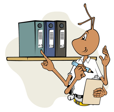 inspecting: Illustration mascot ant with clipboard and inspecting files. Ideal for catalogs, informative and institutional materials Illustration