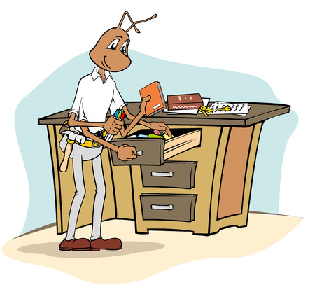 tool belt: Ant mascot Illustration cleaning equipment office with cloth. Ideal for catalogs, informative and institutional materials
