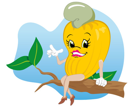 fruit juice: Character mascot cashew fruit. Ideal for educational and institutional materials Illustration