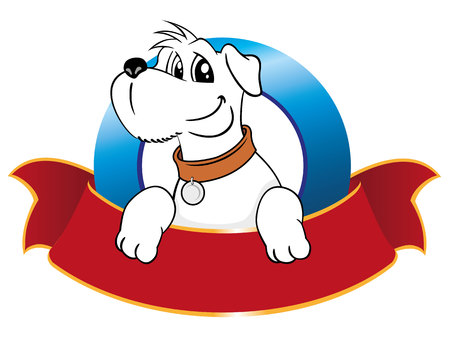 wścieklizna: Illustration emblem mascot dog. Ideal for materials veterinarians and pet shop products