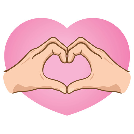 complicity: Illustration of hands forming a heart, caucasian. Ideal for catalogs, informative and institutional materials