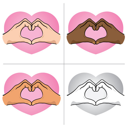Illustration hands forming a heart, ethnicity.  Illustration