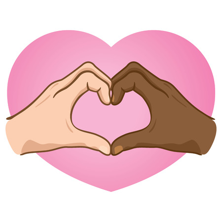 Illustration hands forming a heart, ethnicity.