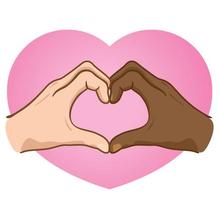 etnia: Ilustración manos formando un corazón, el origen étnico. Vectores