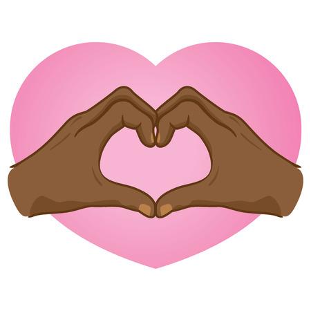 african descent: Illustration hands forming a heart, Illustration
