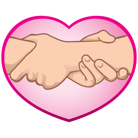 complicity: Illustration of hands together in a heart. Ideal for catalogs, informative and institutional materials Illustration
