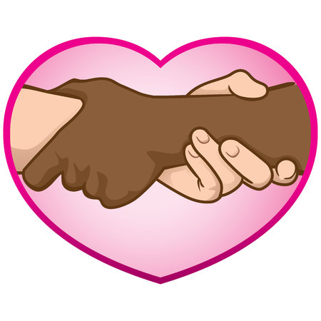 folded hands: Illustration of folded hands over the heart, interracial. Ideal for catalogs, informative and institutional materials Illustration
