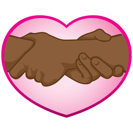 catalogs: Illustration of folded hands on the heart African descent. Ideal for catalogs, informative and institutional materials