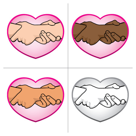 left right: Illustration of folded hands over the heart, ethnicity. Ideal for catalogs, informative and institutional materials