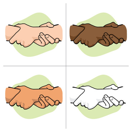 wrist hands: Illustration leaning hands holding the wrist of another ethnicity. Ideal for catalogs, informative and institutional materials