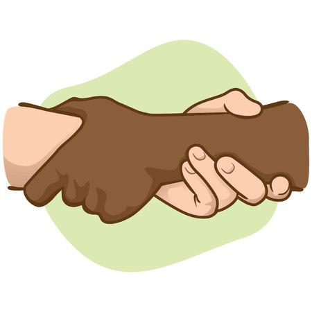 interracial: Ilustraci�n apoyado las manos sosteniendo la mu�eca de la otra, interracial. Ideal para cat�logos, informativos e institucionales materiales Vectores