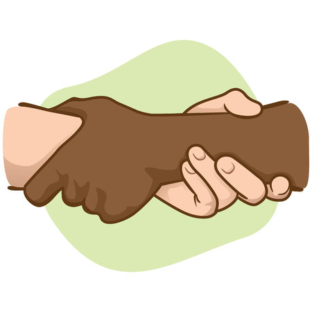 Illustration leaning hands holding the wrist of the other, interracial. Ideal for catalogs, informative and institutional materials Illustration
