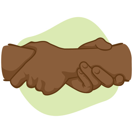 catalogs: Illustration leaning hands holding the wrist of the other, African descent. Ideal for catalogs, informative and institutional materials Illustration