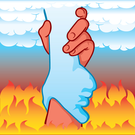 Illustration of hands leaning holding between heaven and hell, differences coexisting. Ideal for catalogs, informative and institutional material