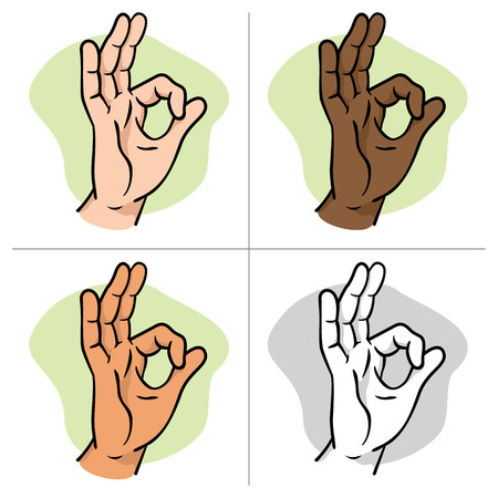 all right: Illustration hands making an okay sign, ethnicity. Ideal for catalogs, informative and institutional materials