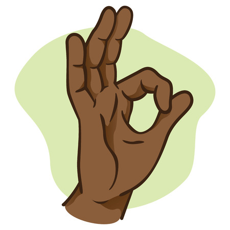 complicity: Illustration hands making an okay sign, ethnicity. Ideal for catalogs, informative and institutional materials