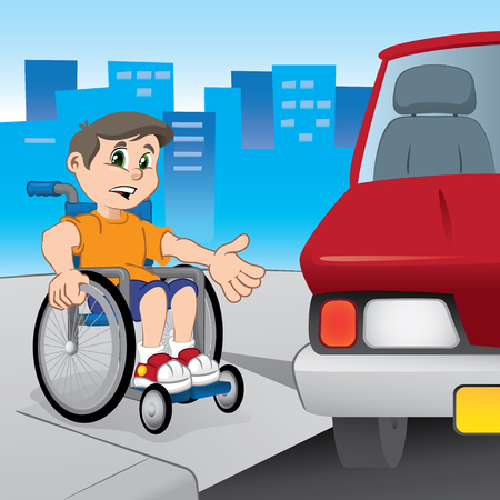 niños discapacitados: Boy en silla de ruedas luchando para moverse porque el coche aparcado delante de la rampa para minusválidos. Ideal para materiales educativos e institucionales