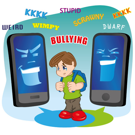 disrespect: Illustration of a child suffering virtual bullying by mobile phone. Ideal for catalogs, informative and institutional materials Illustration