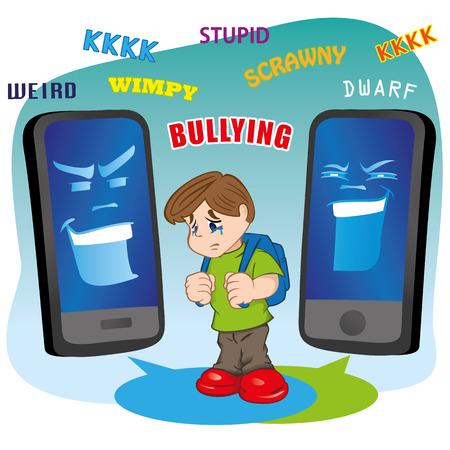 falta de respeto: Ilustraci�n de un ni�o que sufre acoso escolar virtual mediante tel�fono m�vil. Ideal para cat�logos, informativos e institucionales materiales