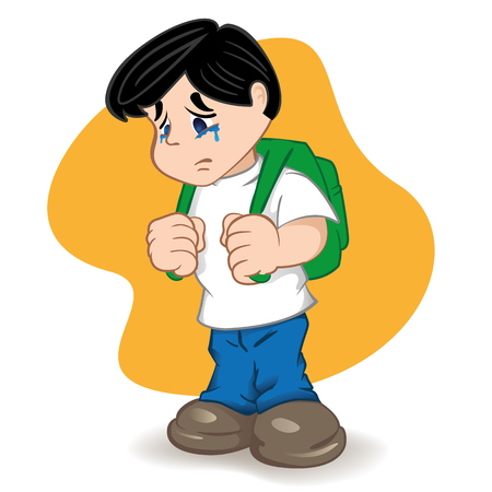 Illustration of a student sad and crying child. Ideal for catalogs, informational, educational and institutional equipment