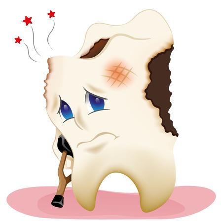 dientes caricatura: Ilustración de un diente cariado enfermos y agujeros Vectores
