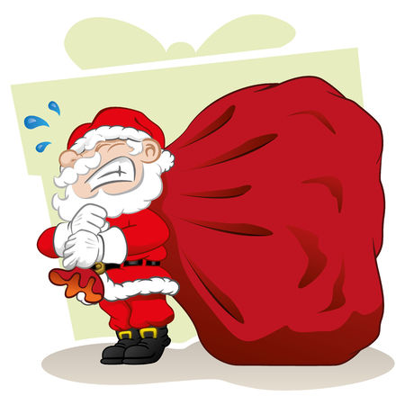 decorum: Illustration Santa Claus carrying a Christmas present case. Ideal Christmas seasonal materials Illustration