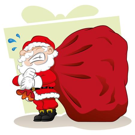 uomo rosso: Illustrazione Babbo Natale porta un caso regalo di Natale. materiali di stagione ideale di Natale