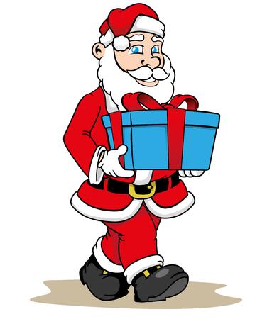 uomo rosso: Illustrazione Babbo Natale che d� un regalo di Natale. materiali di stagione ideale di Natale
