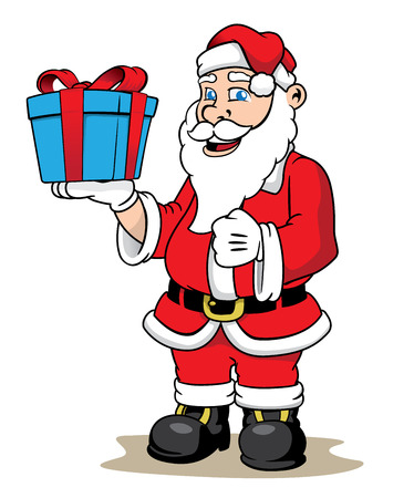 man with hat: Illustration Santa Claus giving a Christmas present. Ideal Christmas seasonal materials