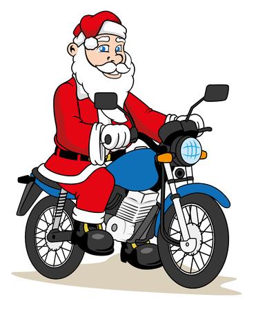botas de navidad: Ilustración de un Papá Noel que monta una bicicleta. Materiales estacionales Ideal Navidad