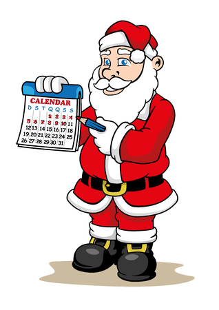 the explanation: Illustration of a Santa Claus holding a calendar marking how many days until Christmas. Illustration