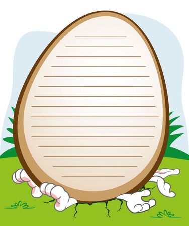 Post an Easter rabbit crushed by an egg. Ideal for celebratory events and institutional Illustration