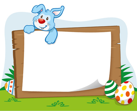 note board: Illustration of an Easter bunny over a note to board. Ideal for celebratory events and institutional