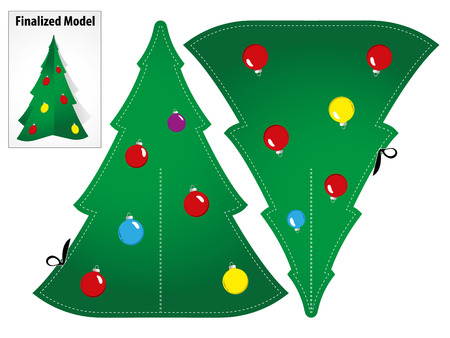 christmas paper: Drawing a Model Toy Paper Craft Christmas tree to mount