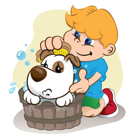 institutional: Illustration of a child bathing in a dog. Ideal for visual, informative and institutional communication materials