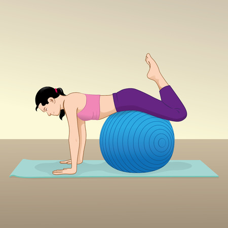 """pilates ball"": Woman doing exercises and physiotherapy gym with pilates ball material. Ideal for catalogs and educational materials and institutional"