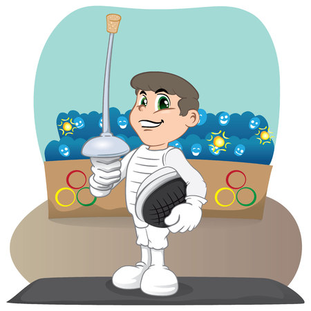 individual sport: Illustration of an athlete person Caucasian fencing. Ideal for catalogs, informative and sporting catalogs