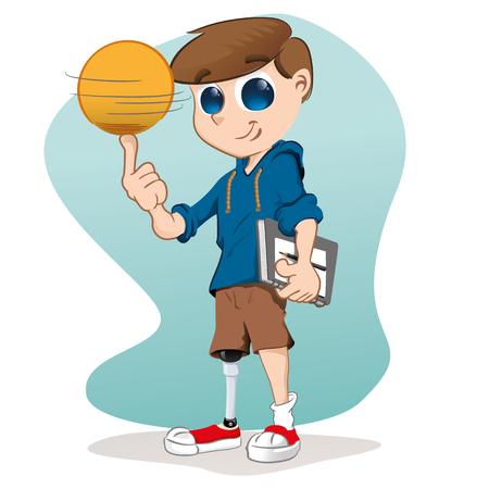 desprecio: Pobre muchacho con una pierna ortop�dica, la vida normal de liderazgo con el estudio y el deporte. Ideal para materiales educativos e institucionales
