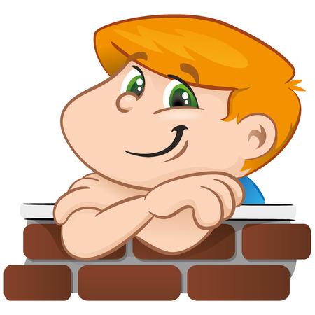 hunched: Person illustration boy with the arm supported on the wall. Ideal for catalogs, informative and institutional materials