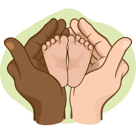 Illustration of hands holding baby feet, interracial. Ideal for catalogs, informative and institutional materials Illustration