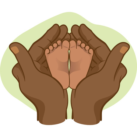 african descent: Illustration of hands holding baby feet on a heart African descent. Ideal for catalogs, informative and institutional materials