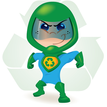 superpowers: One boy with a uniform ecological super hero. Ideal for educational, instructional and institutional materials