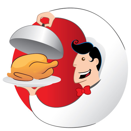 Illustration of waiter or cook serving roasted chicken on a platter. Ideal for catalogs, informative and institutional materials Ilustração