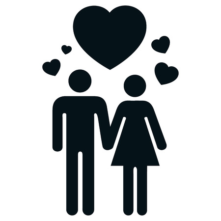 institutional: Icon pictogram couple in love with heart and love. Ideal for catalogs, informative and institutional materials Illustration