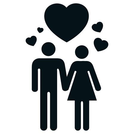 generosity: Icono pictograma pareja en el amor con el corazón y el amor. Ideal para catálogos, informativos e institucionales materiales