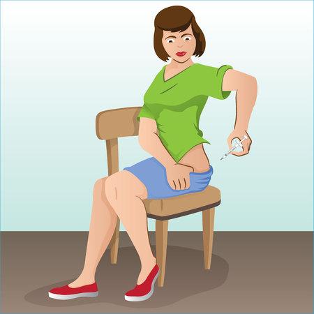inyeccion intramuscular: Ilustración de una persona que solicita la inyección de la cadera, lumbar y la espalda puede ser para el tratamiento de la diabetes o esclerosis