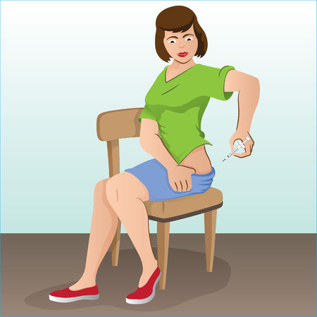 Illustration of a person applying the hip injection, lumbar and back can either be for the treatment of diabetes or sclerosis