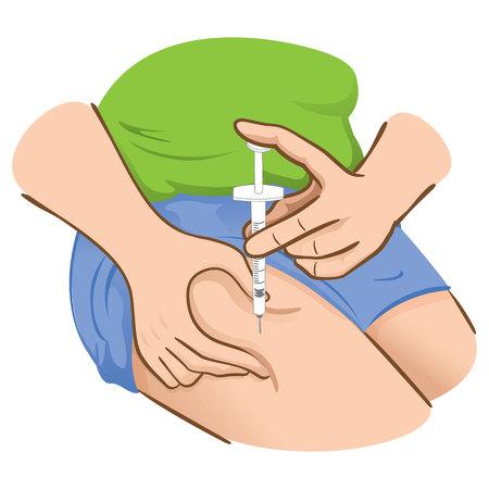 inyeccion: Ilustración de una persona que solicita la inyección en el muslo o la pierna puede ser para el tratamiento de la diabetes o esclerosis Vectores